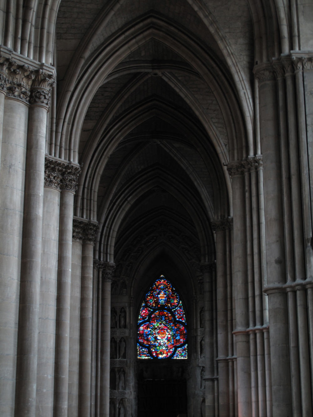 Shadows and light in Reims Cathedral - a perfect example of Gothic Architecture and the pointed arch.
