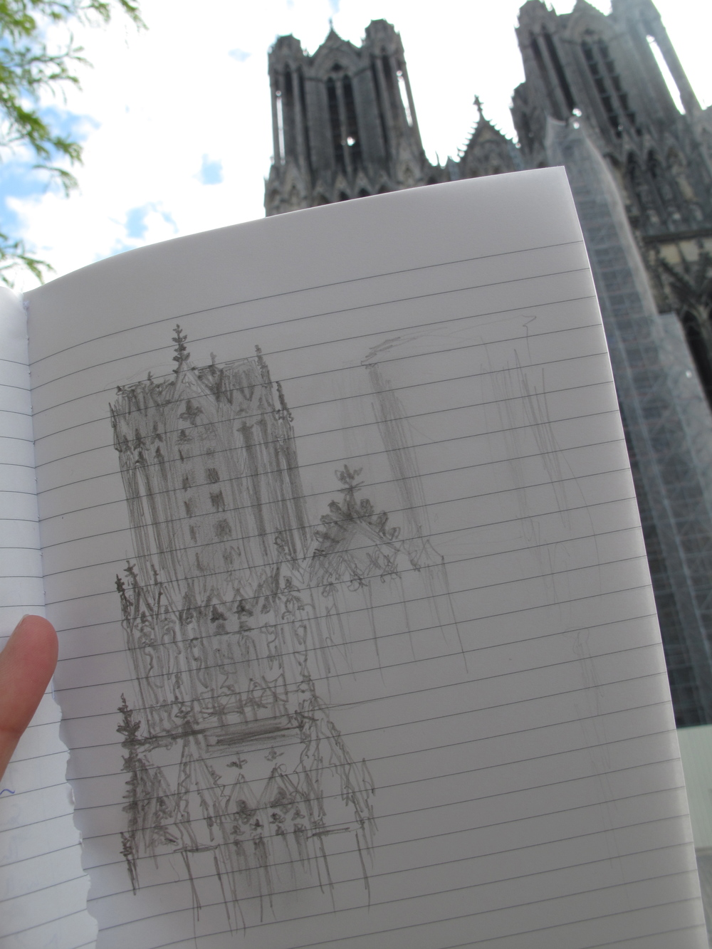 Quick sketches of Reims cathedral  - the towers