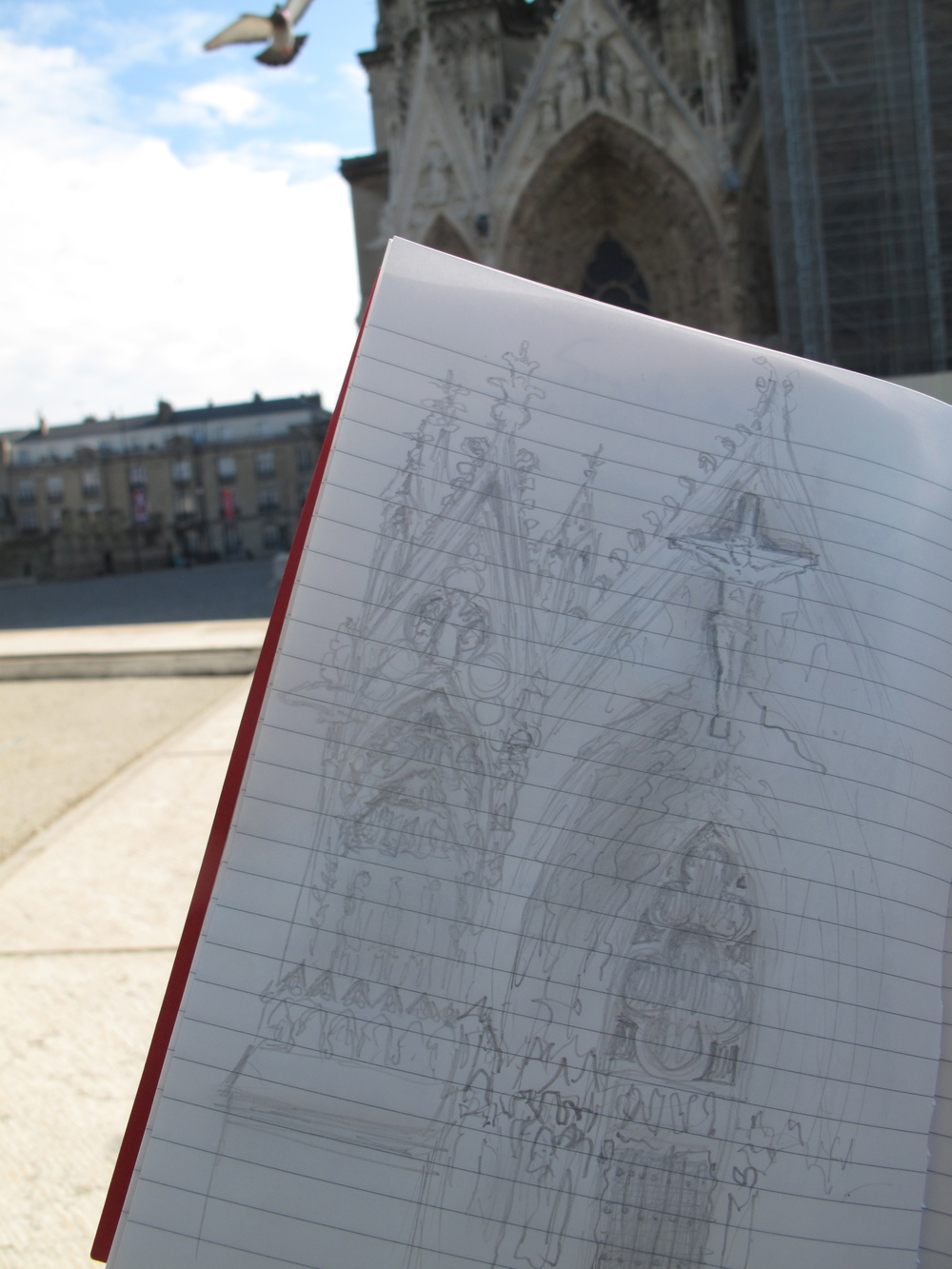Sketches of Reims cathedral - the West portal and door