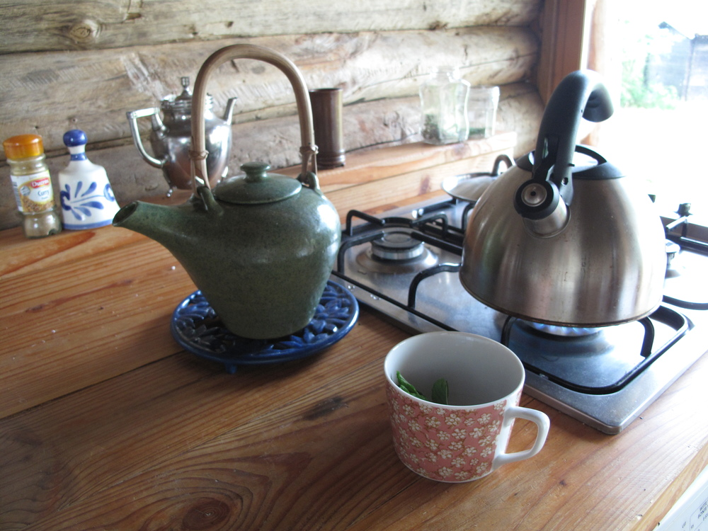 Making tea in my cabin at Brenazet - using mint from the garden