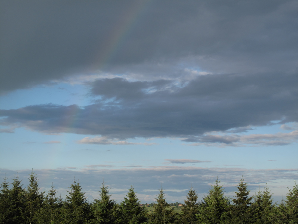 A rainbow over the trees at Brenazet