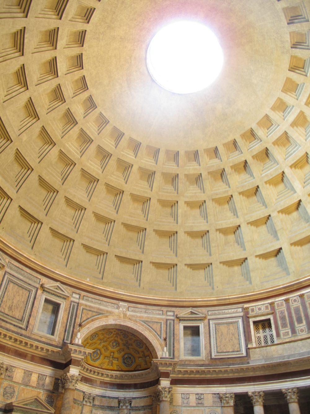The ceiling of the Pantheon in Rome, with a hole in the centre