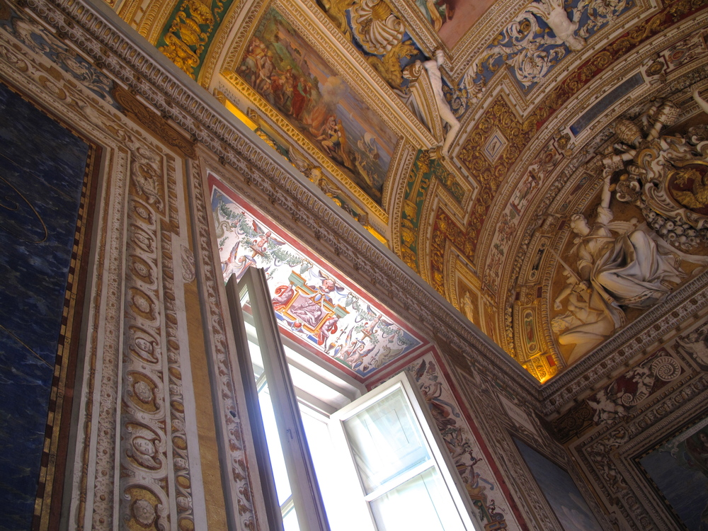 Painted windows and ceiling in the Vatican museums