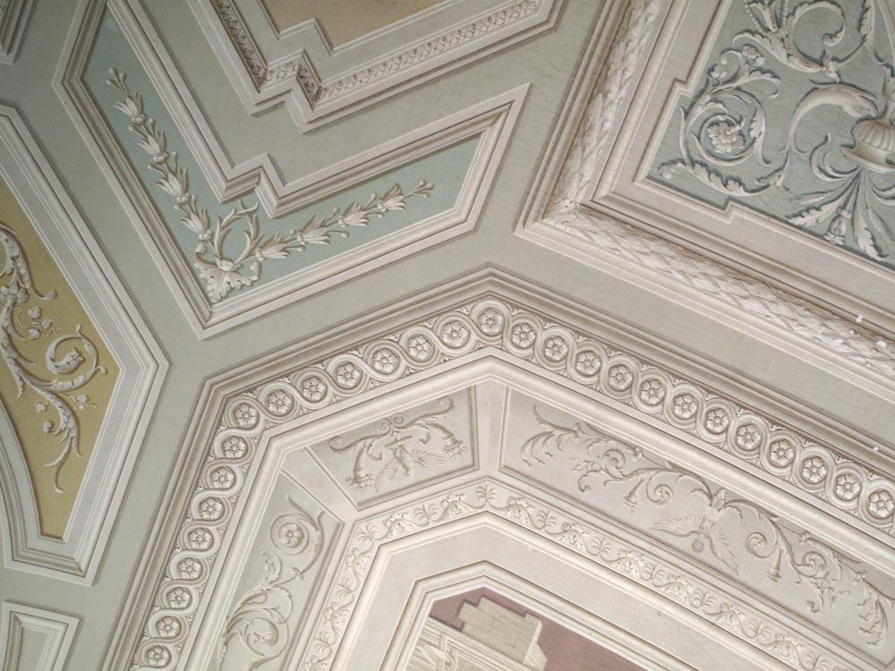 Pastel painted ceilings inside the Vatican