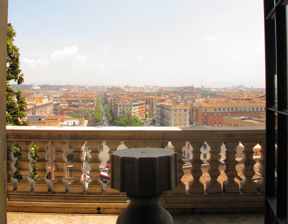 Balcony and view of Rome from the Vatican