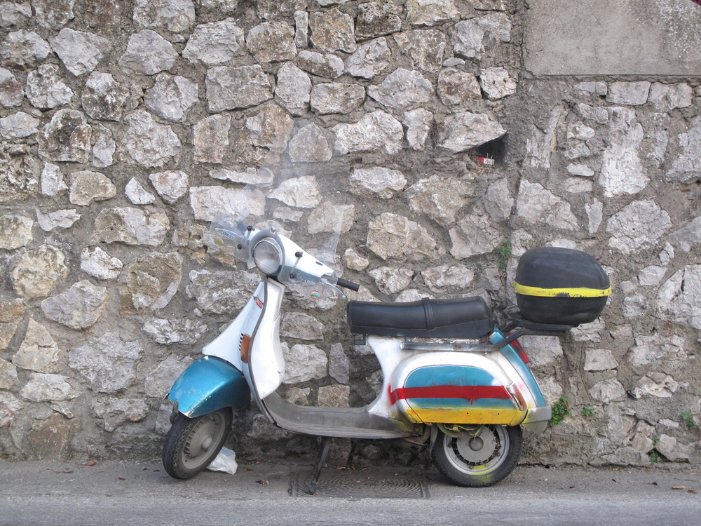 Painted scooter on Capri - a necessity to get around the tiny roads