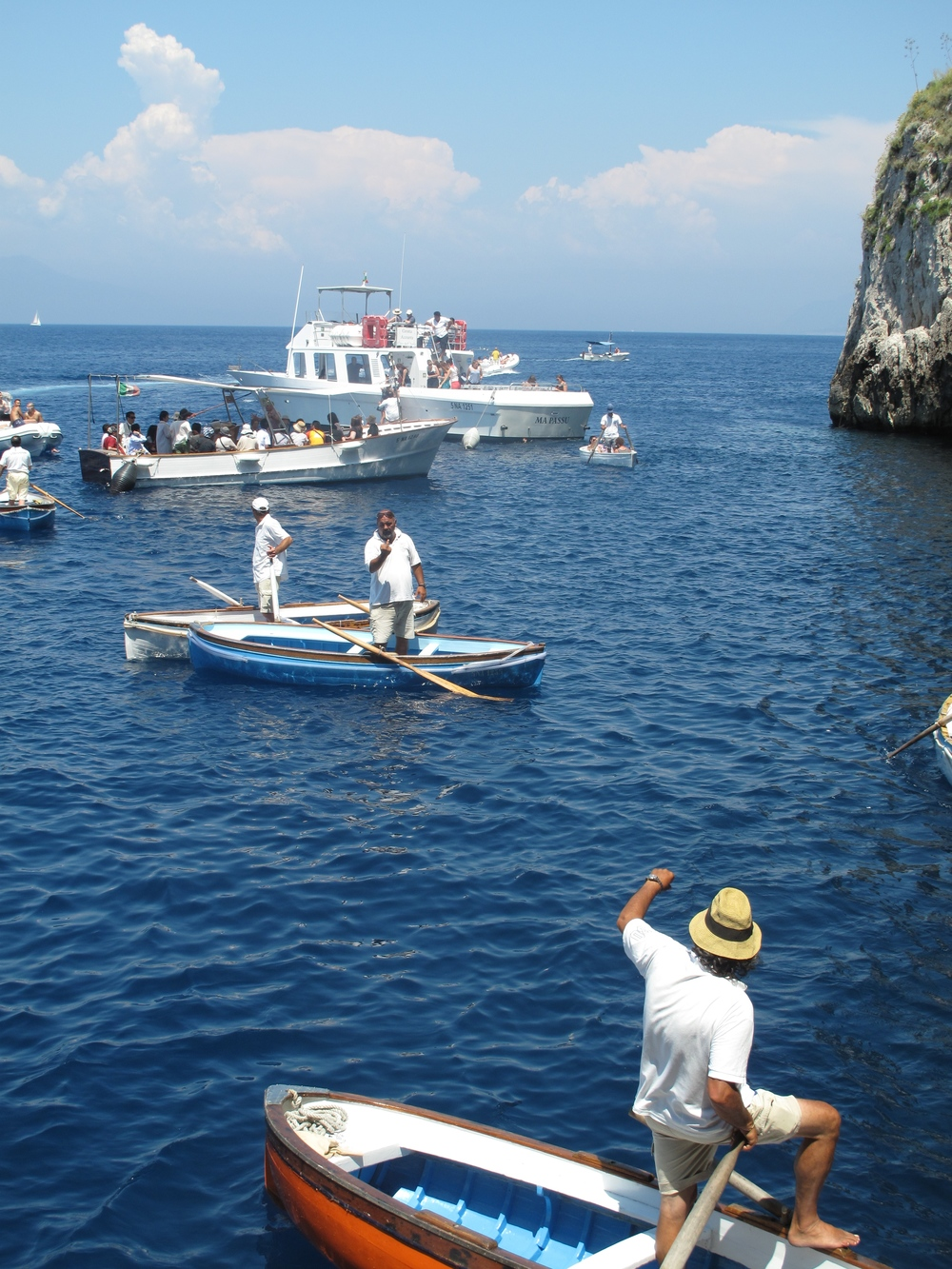 Boats near the Blue Grotto, and angry boat men