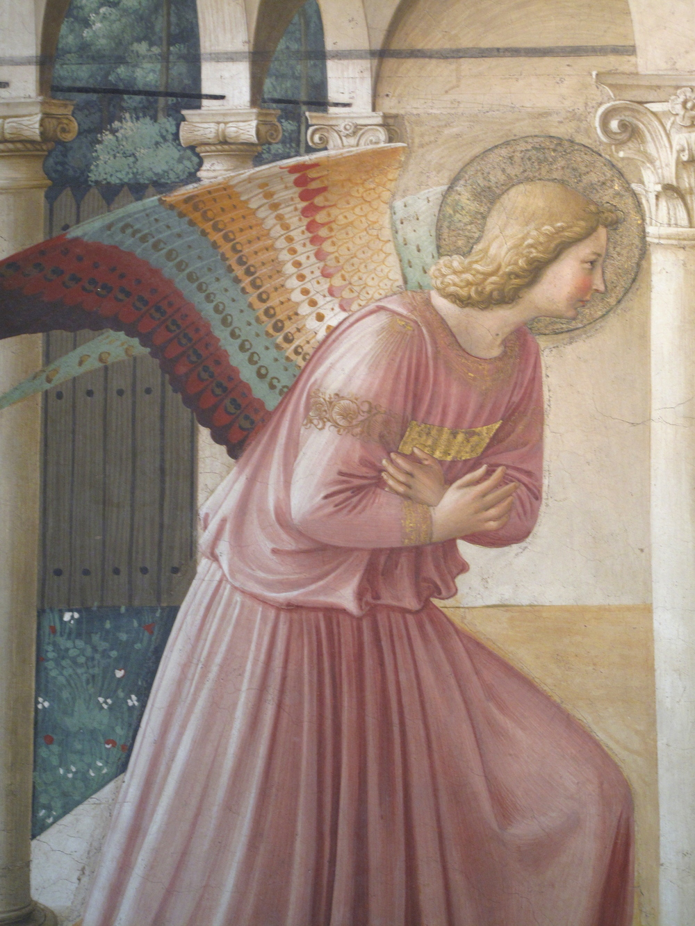 Annunciation angel painted by Fra Angelico, in San Marco convent, Florence