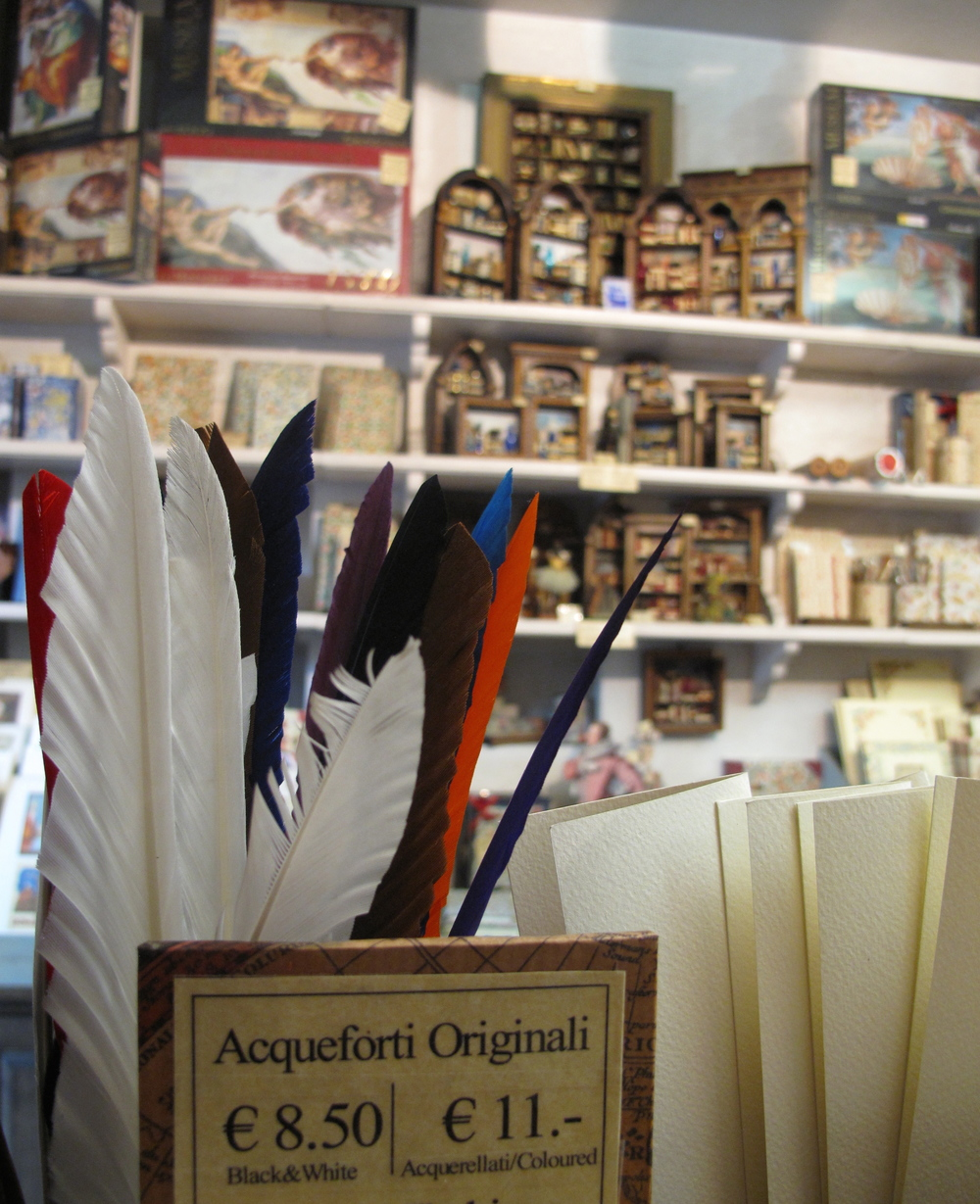 Quills and lovely thick papers being sold at a papeterie in Florence