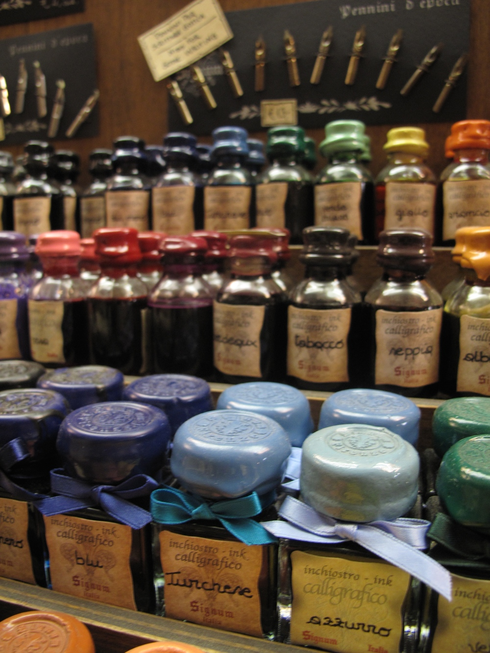 Inks in all different colours sold at a papeterie in Florence