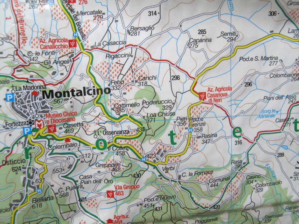 Map of Montalcino and Tuscany, and how we got lost.