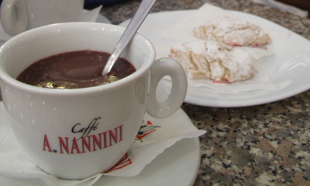 A cup of real italian thick hot chocolate