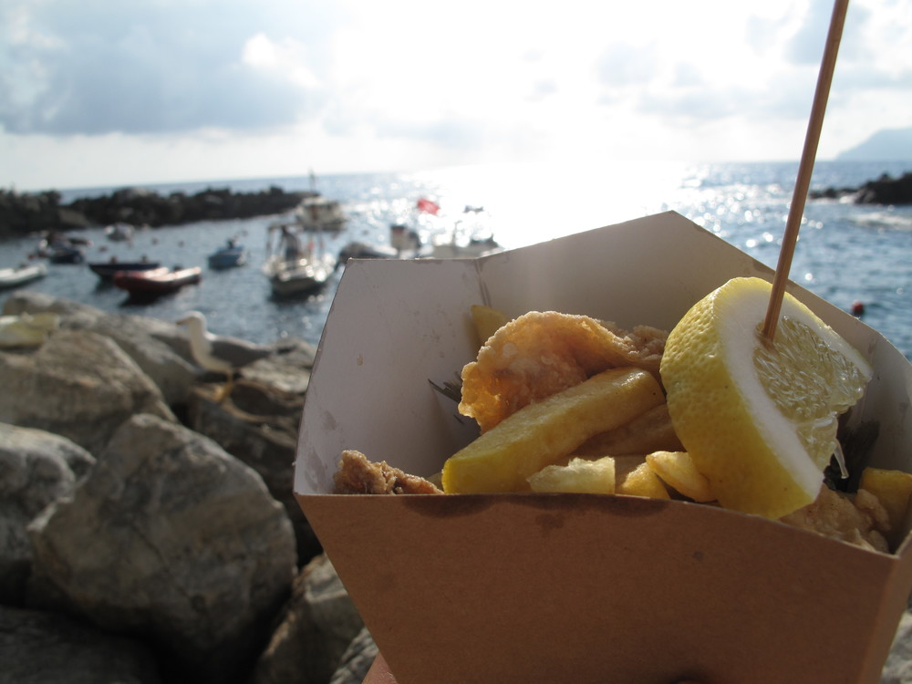 Fish and chips and fried sardines at Riomaggiore