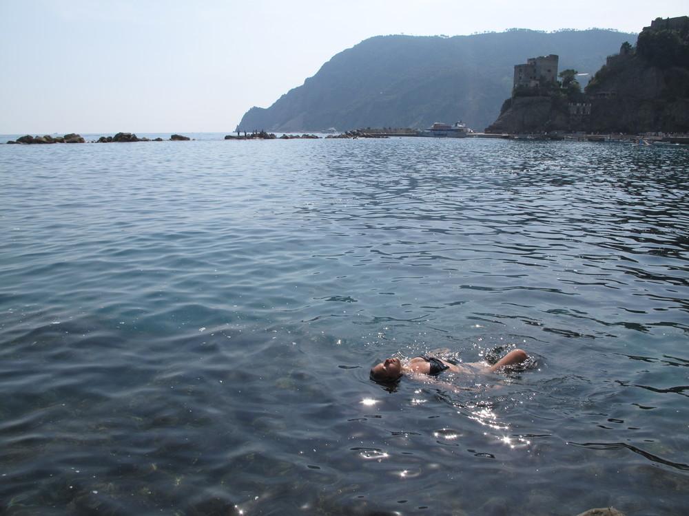 Swimming in the sea in Italy's Cinque Terre