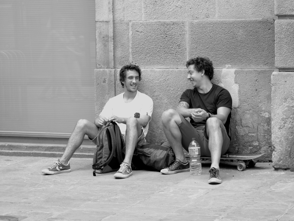 Skateboarders hanging out in Barcelona