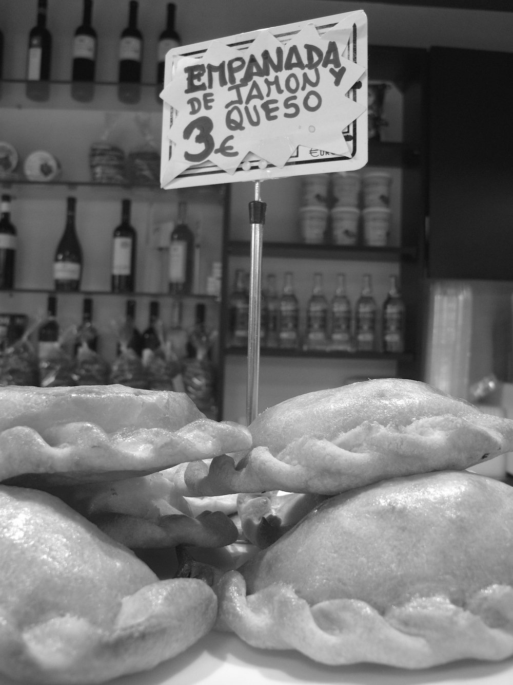 Empanada de jamon y queso at the Boqueria in Barcelona