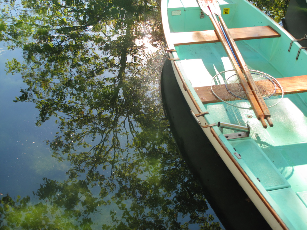 A small dinghy boat in the private canals of Annecy, with reflections of leaves on the water.