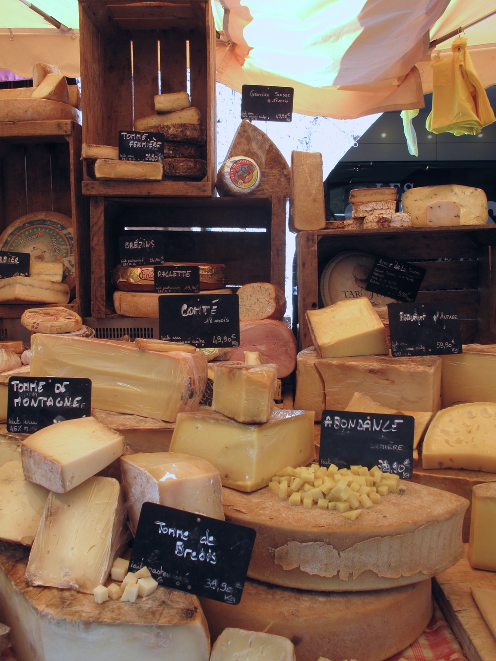 French cheeses at the market in Vieux Annecy