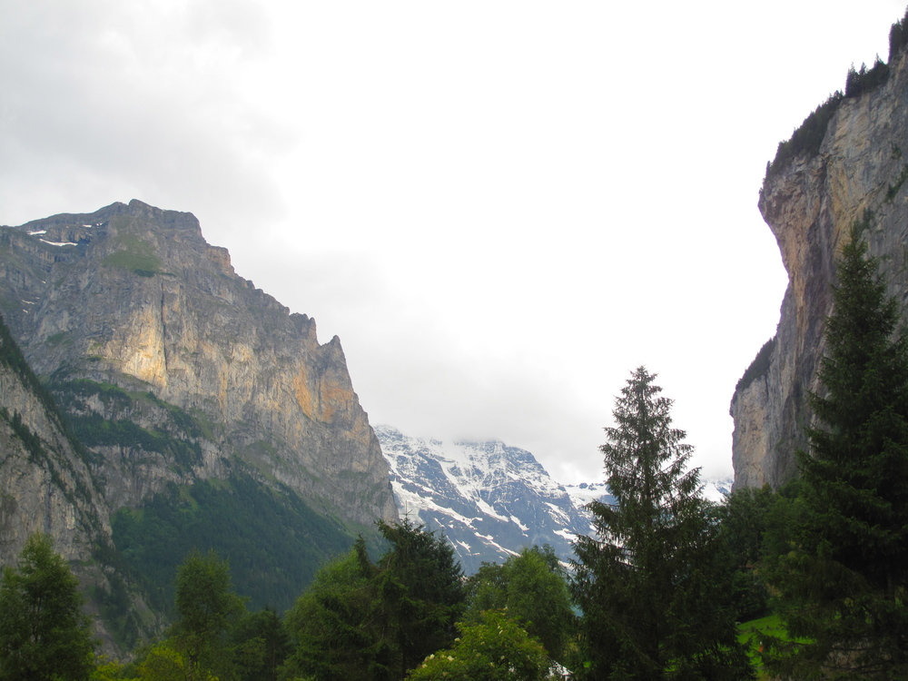 The Swiss Alpes on either side of the Lauterbrunnen Valley