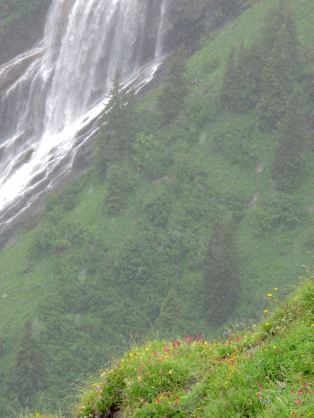 Waterfalls high up in the Swiss Alps near Lauterbrunnen