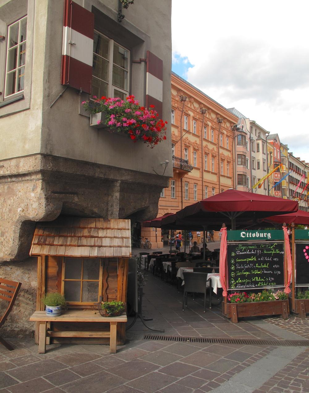 Innsbruck restaurant awnings, Austria