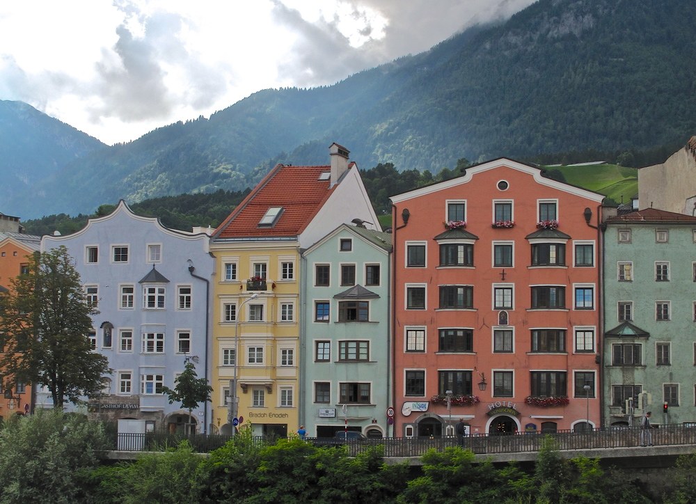 Innsbruck colourful houses in Austria