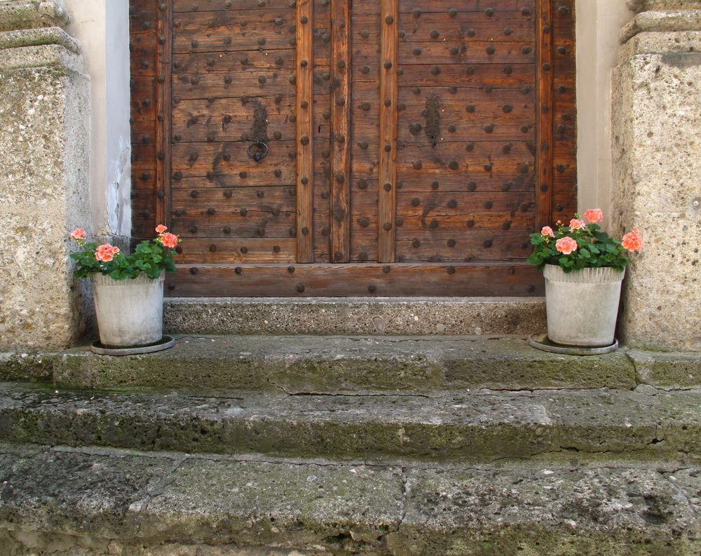 Stone steps and potted plants in Salzburg