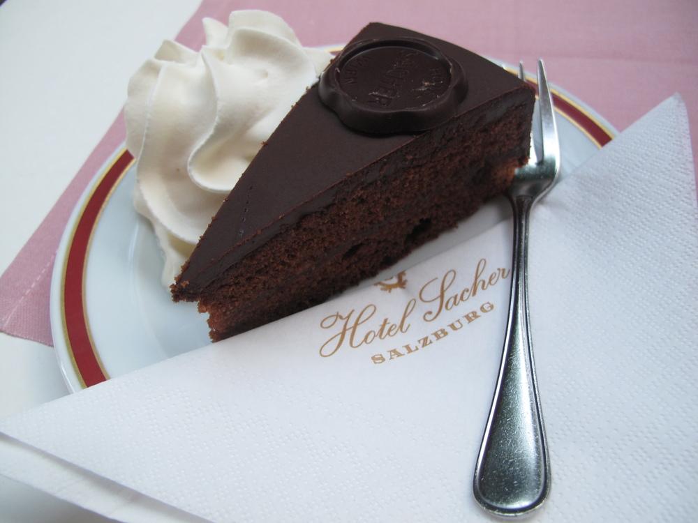 Hotel Sacher Torte cake in Salzburg, Austria.