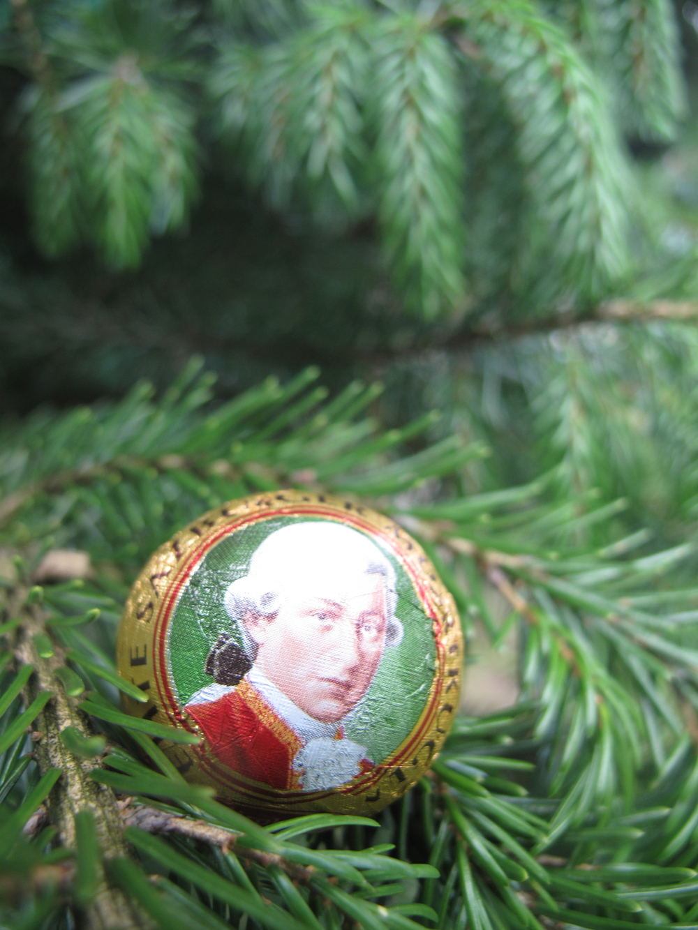 Mozartkugel - austrian chocolate balls with a picture of Mozart on the wrapper.