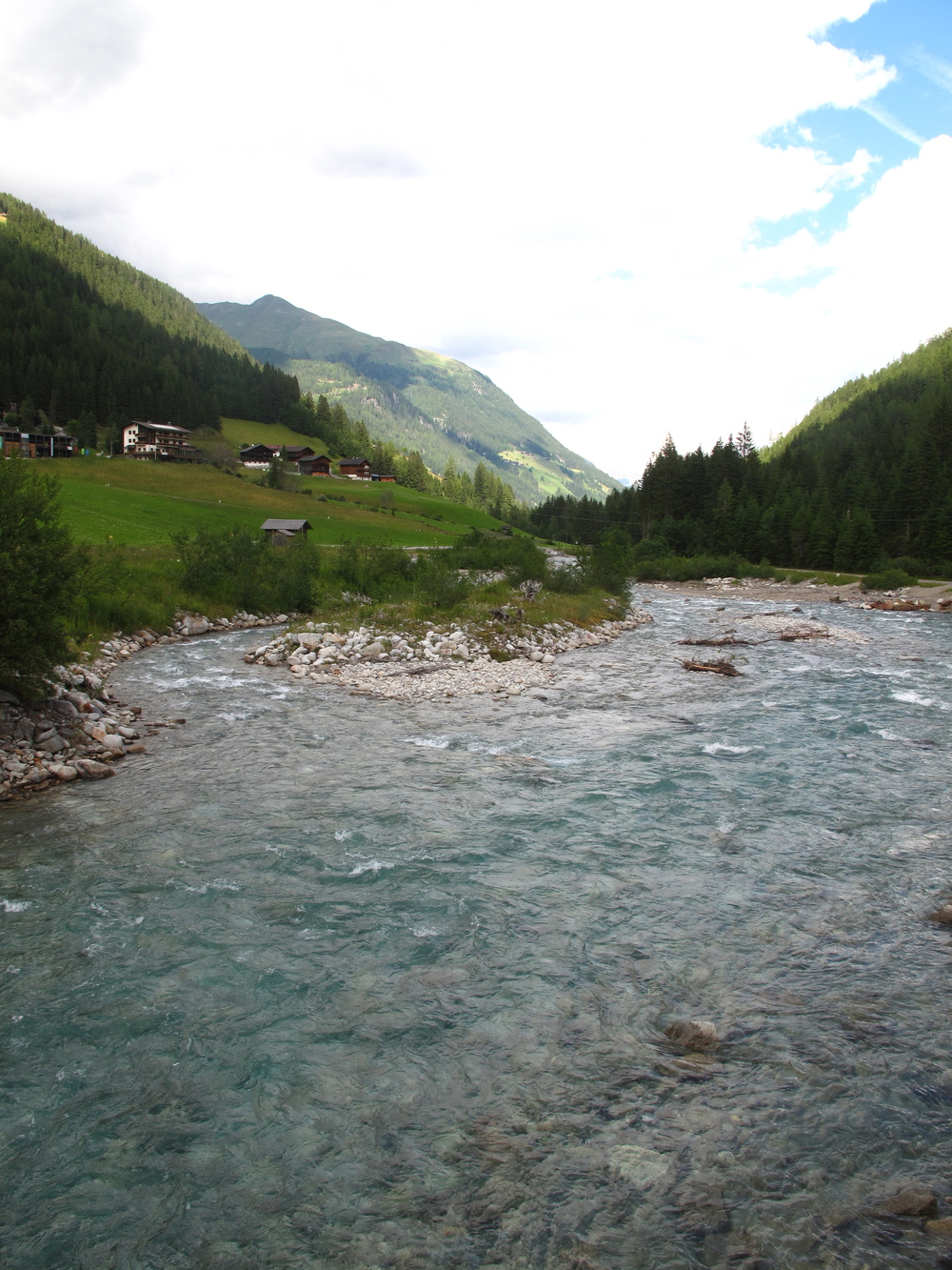 Glacier blue waters in the high mountains of Austria.