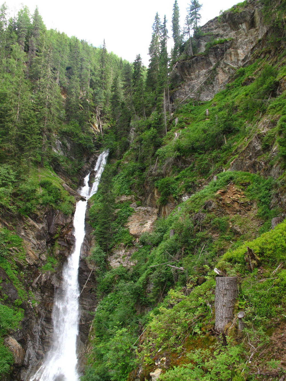Small mountain waterfall in the Tyrol Valley in Austria