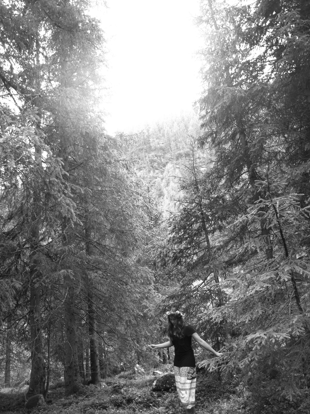 Forest nymph in black and white