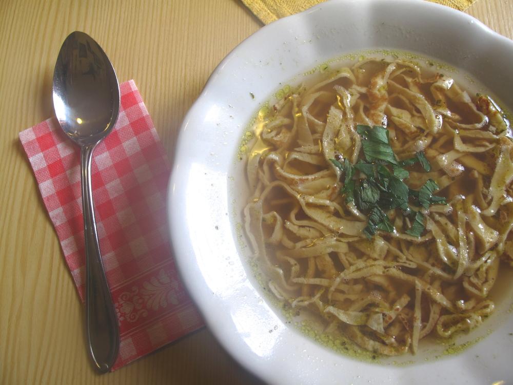 Frittatensuppe - pancake soup in Austria.