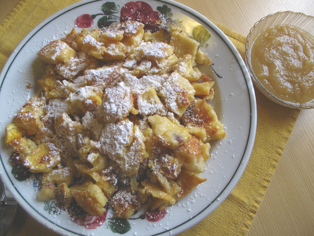 Kaiserschmarrn - a dish of cut up pancakes, icing sugar and raisins.