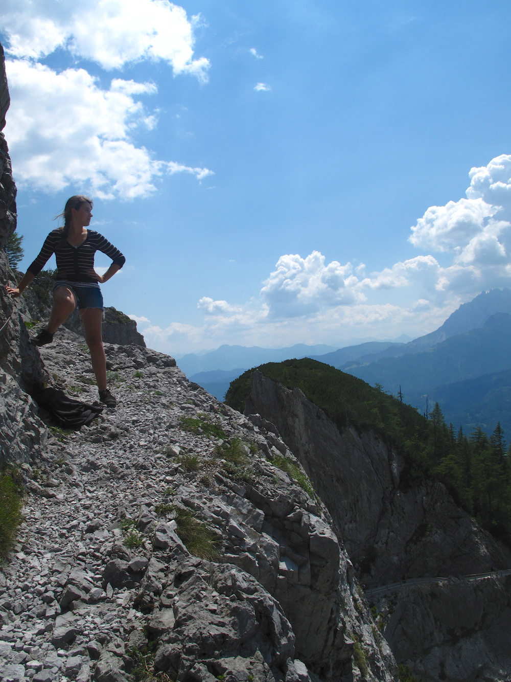 Climbing a mountain trail near Werfen, Austria- being intrepid.