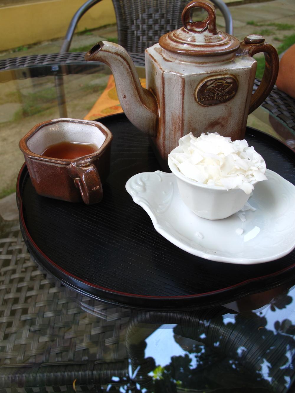 A pot of oriental tea at a tea-house in Cesky Krumlov.