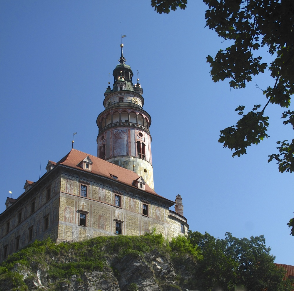 Castle Tower Cesky Krumlov - in the midday sun.