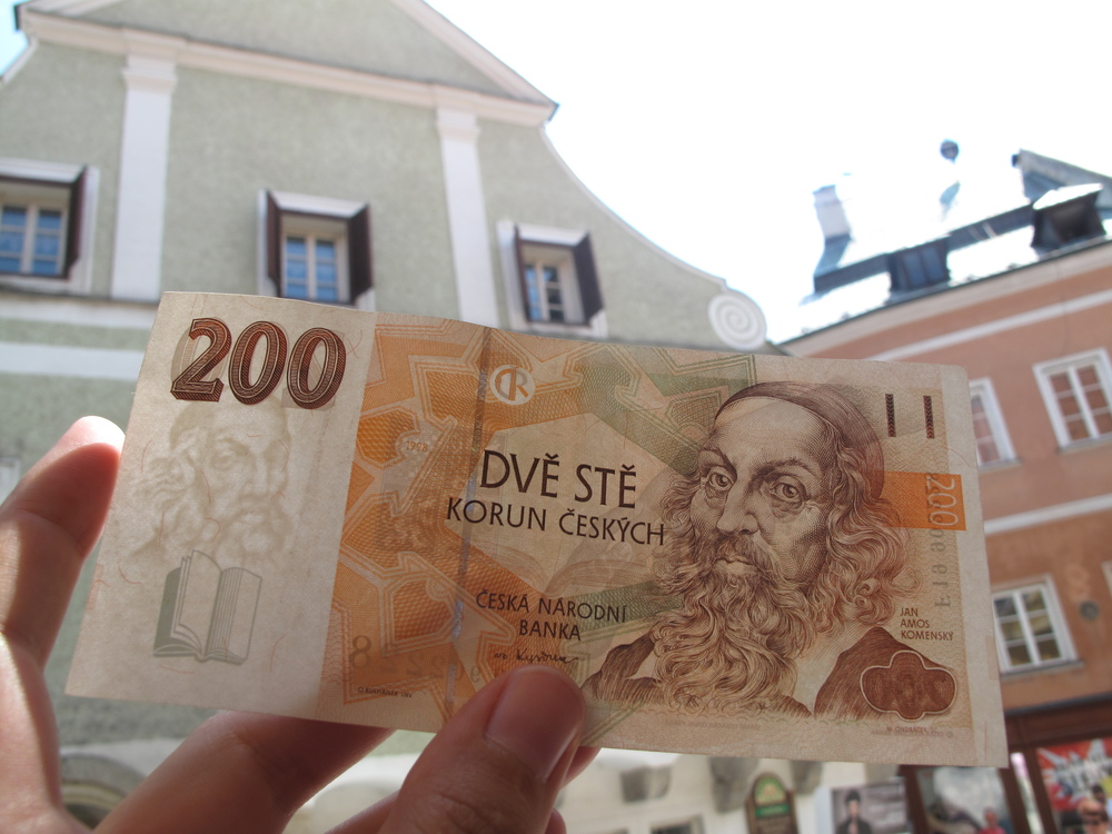 Interesting looking money from the Czech Republic - 200 Krona with a picture of an old medieval philosopher