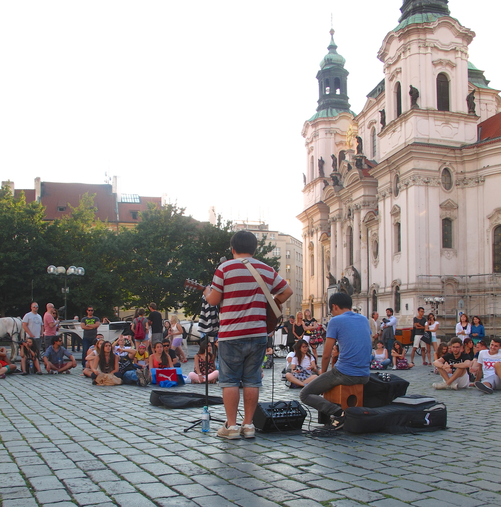 Buskers in the Old Town Square of Prague