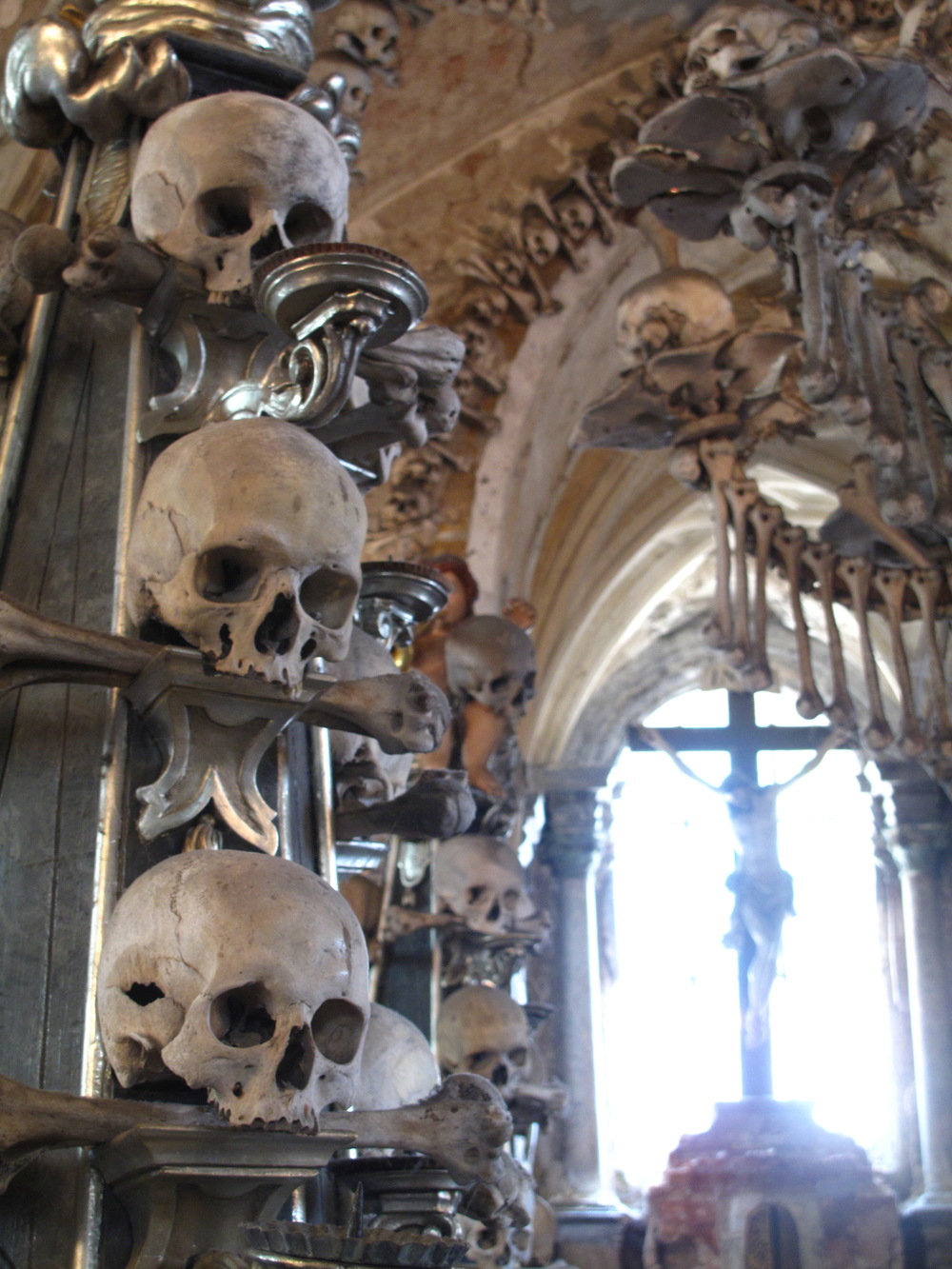 Skulls at Kutná Hora Church in the Czech Republic