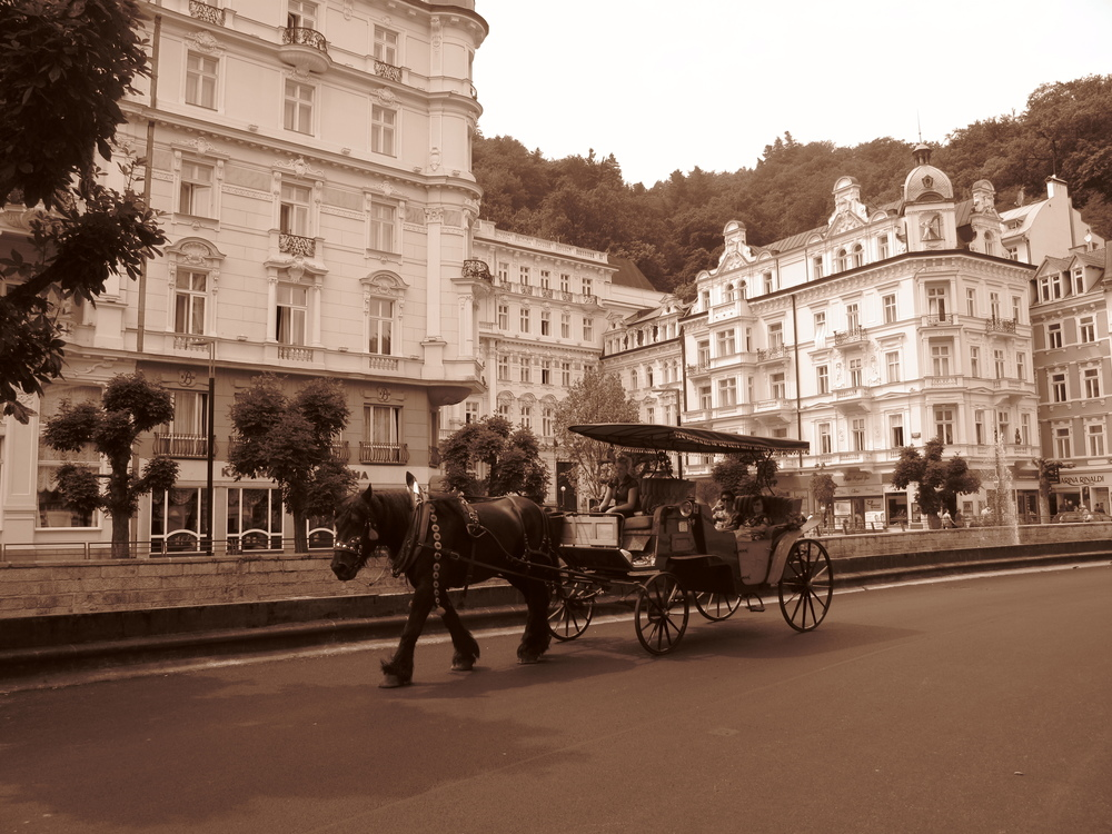 Horse and carriage in the old town of Karlovy Vary, Czech Republic.