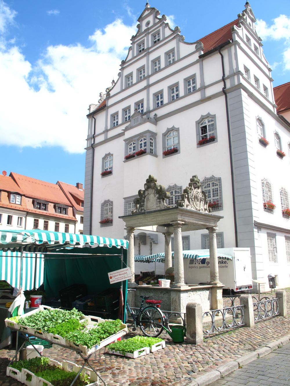 Wittenberg town square, and markets selling fresh produce.