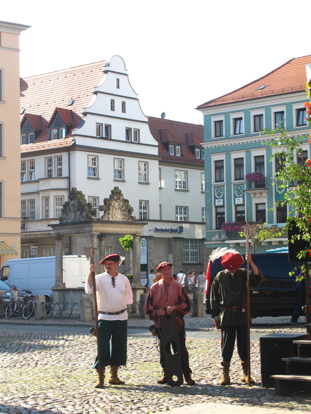 Guards at the Weinfest in Wittenberg, dressed in medieval costume.