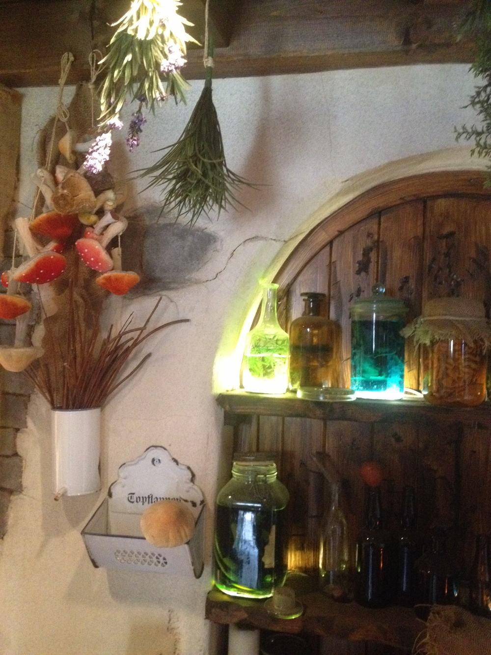 Witch's potion ingredients inside her cottage