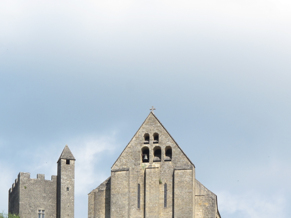 Stone church on a hill in the Dordogne