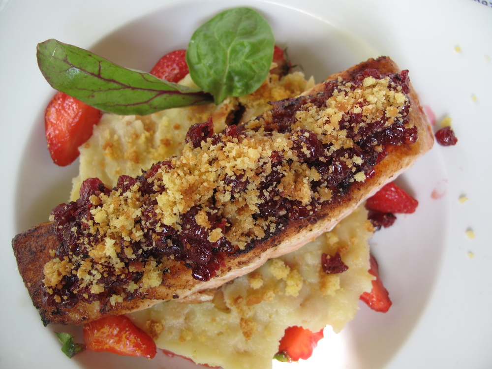 Fancy French food - salmon and strawberries in spring.