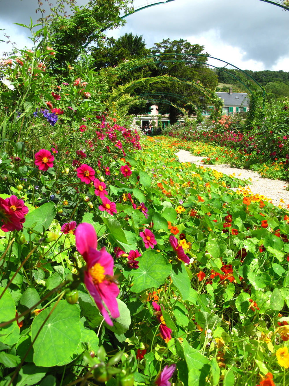Giverny gardens in summer - red, pink, and orange flowers.