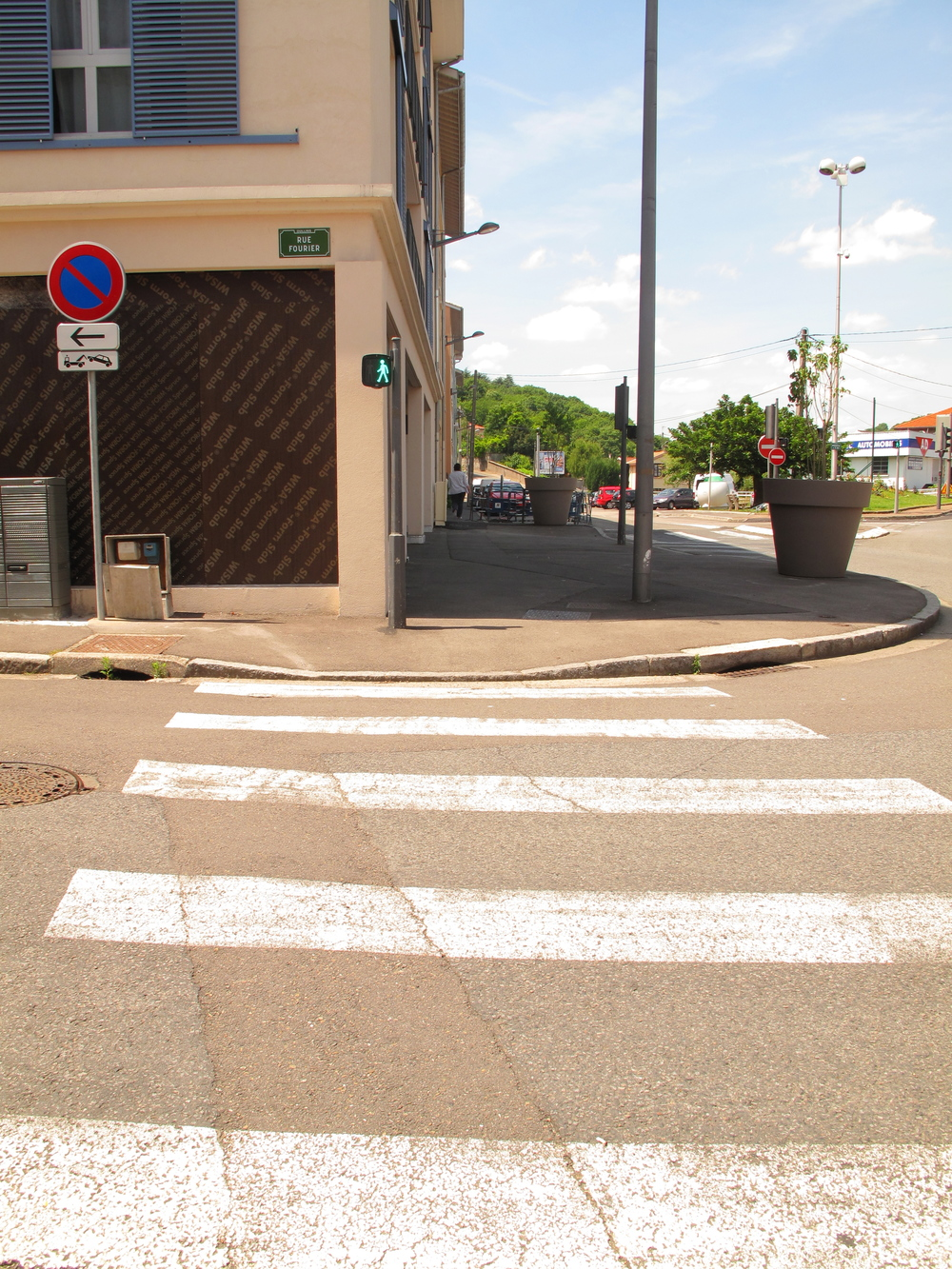 Crossing the cross walk in Oullins.