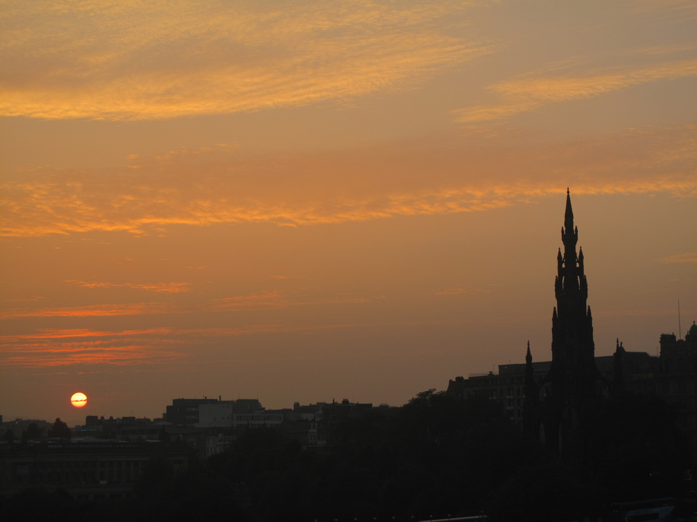 Edinburgh skyline at sunset.