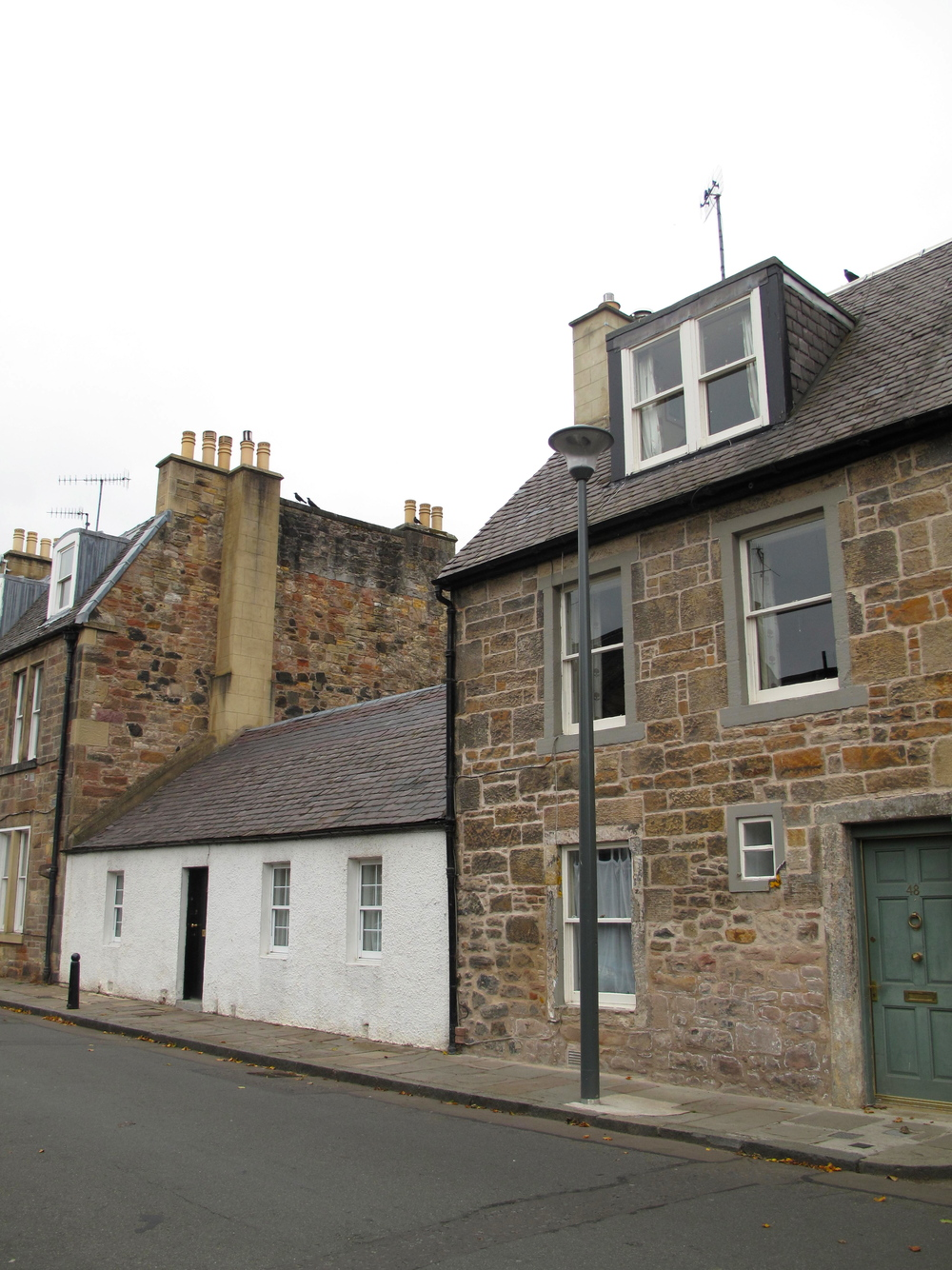 Duddingston Village houses - little stone houses in Scottish style.